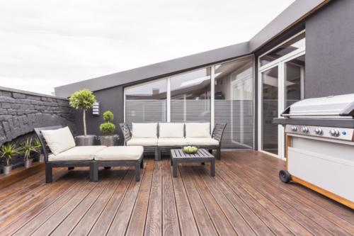 Cozy terrace with wooden floor